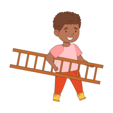 Happy Boy Walking with Wooden Ladder Engaged in Spring Season Activity Vector Illustration