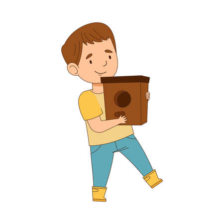 Happy Boy in Rubber Boots Walking with Nesting Box Engaged in Spring Season Activity Vector Illustration