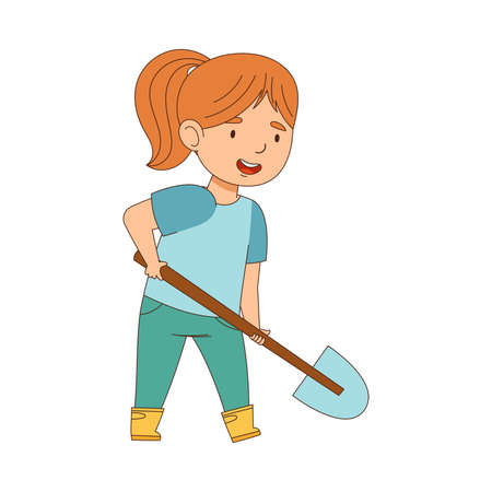 Happy Girl in Rubber Boots with Shovel Working in the Garden Engaged in Spring Season Activity Vector Illustration  イラスト・ベクター素材