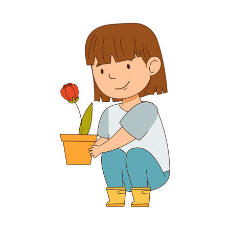 Happy Girl in Rubber Boots with Flowerpot Engaged in Spring Season Activity Vector Illustration  イラスト・ベクター素材