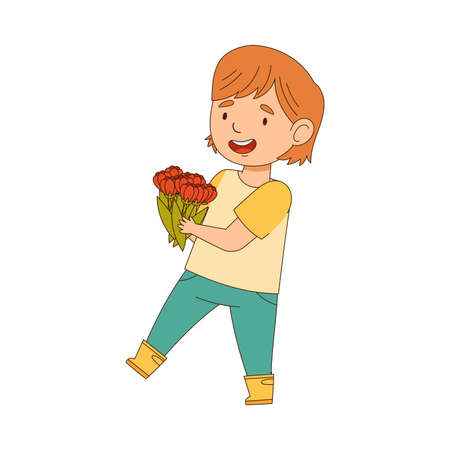 Happy Girl in Rubber Boots Walking with Flower Bunch Engaged in Spring Season Activity Vector Illustration