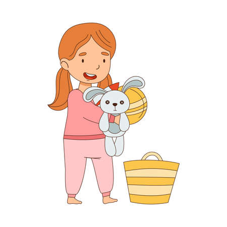Cute Girl Picking Up Toys in Basket Getting Ready to Bedtime Vector Illustration Vettoriali