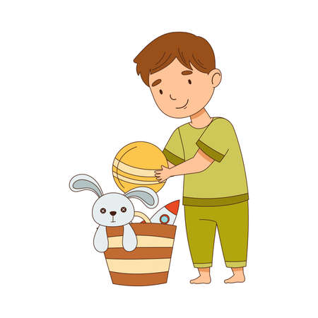 Cute Boy Picking Up Toys in Basket Getting Ready to Bedtime Vector Illustration