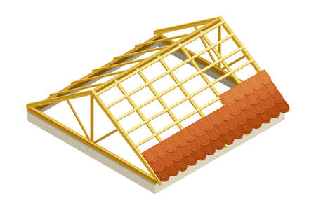 Framed Roof as House Top Covering with Tile Overlapping Isometric Vector Illustration