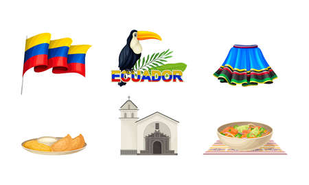 Ecuador Attributes with National Flag on Pole and Skirt Vector Set