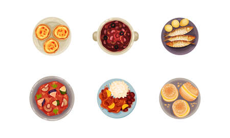 Portuguese Dishes and Main Courses with Boiled Beans and Buns with Cream View from Above Vector Set