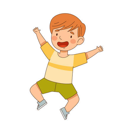 Excited Little Boy Jumping with Joy Expressing Happiness Vector Illustration