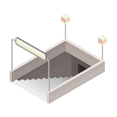 Entrance in Metro or Subway with Downwards Stairs Isometric Vector Illustration