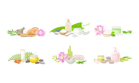 Spa Treatment Composition with Bamboo, Essential Oil and Stones for Energy Body Massage Vector Set