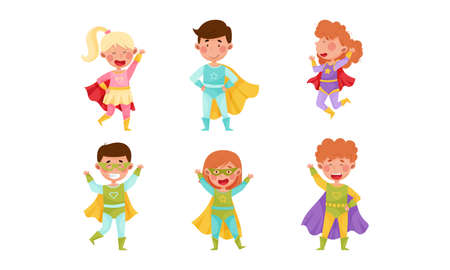 Children Wearing Superhero Costume Pretending to Have Super Power Vector Set