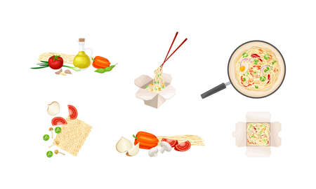 Chinese Udon Noodle Preparation Steps with Ingredients and Stir-frying in Wok Pan Vector Set