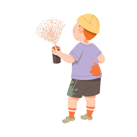 Cute Boy Drawing on the Wall with Aerosol Can Spraying Paints Vector Illustration