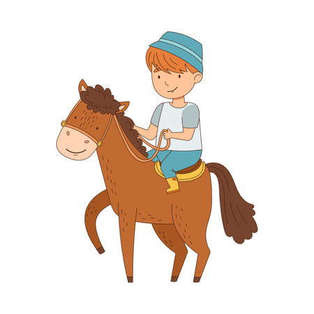 Little Boy Riding on Horse Back Holding Leading Reins Vector Illustration