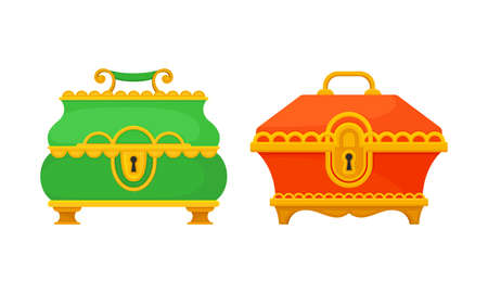 Gold Casket or Jewelry Box as Decorated Small Container Vector Set