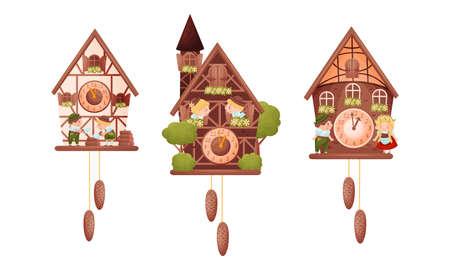 Wooden Cuckoo Clock with Hanging Pendulum and Bird Vector Set 向量圖像