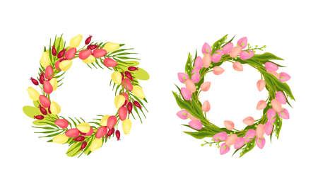Tulip Flowers Arranged in Wreath or Round Frame Vector Set 向量圖像