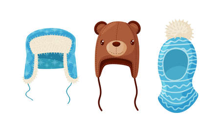 Warm Knitted Winter Hats with Pompon and Ear Flaps Vector Set 向量圖像