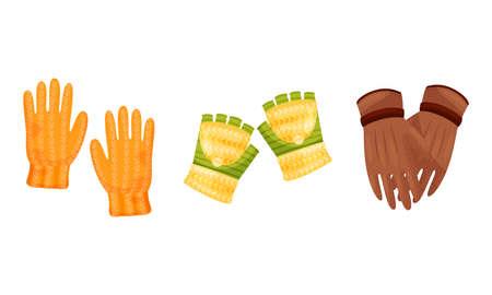Winter Pair of Gloves as Seasonal Garment Covering Hand Vector Set