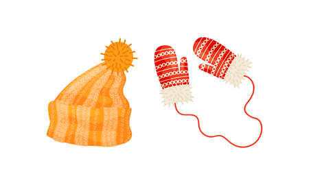 Warm Knitted Winter Hats with Pompon and Mittens Vector Set