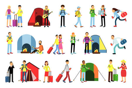 People Characters with Luggage Making Journey and Camping with Tent Vector Illustration Set 向量圖像