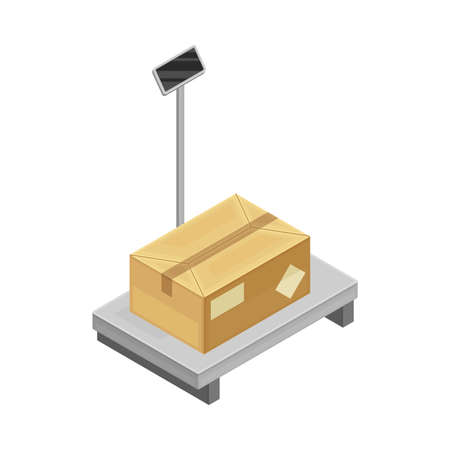 Metal Checkweigher or Industrial Scale with Cardboard Box as Warehouse Area for Goods Storage and Logistics Isometric Vector Illustration