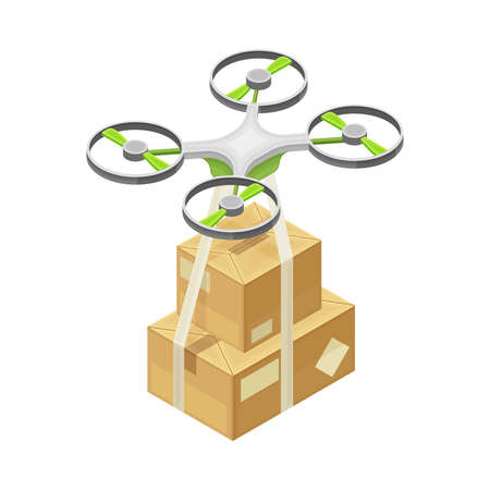 Drone Flying with Cardboard Box as Parcel Delivery and Logistics from Warehouse Isometric Vector Illustration. Aerial Vehicle and Express Commercial Shipment from Storehouse or Depot Concept