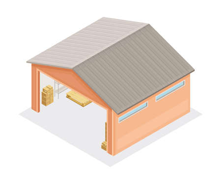 Warehouse as Building for Storing Goods Isometric Vector Illustration 向量圖像