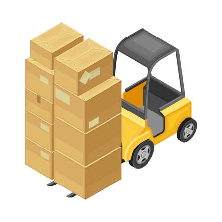 Forklift or Lift Truck Carrying Pile of Cardboard Boxes as Warehouse Equipment for Goods Moving Isometric Vector Illustration 向量圖像
