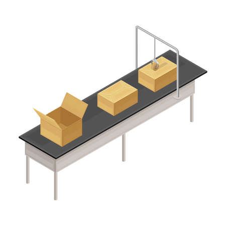 Cardboard Boxes Rested on Conveyor Belt in Custom or Warehouse Isometric Vector Illustration