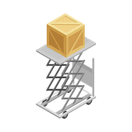 Lifting Device with Square Wooden Box from Warehouse Area as Goods Storage and Logistics Isometric Vector Illustration