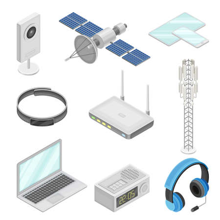 Wireless Communication Technology with Gadget and Networking System Isometric Vector Set