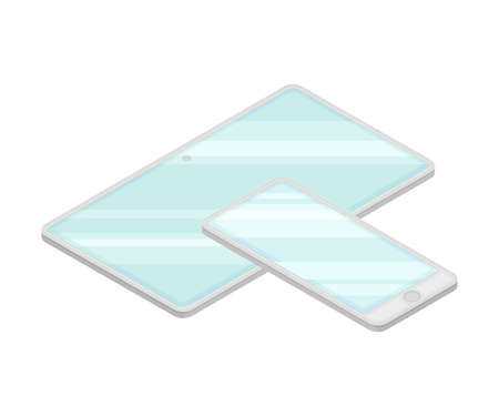 Smartphone and Tablet PC as Wireless Network Communication Technology Isometric Vector Illustration