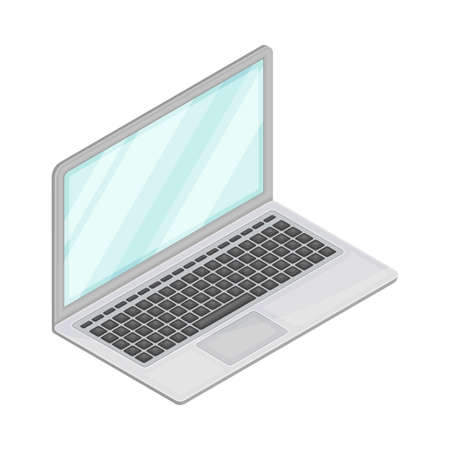 Laptop Computer with Screen as Wireless Network Communication Technology Isometric Vector Illustration