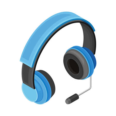 Headphone with Microphone as Wireless Network Communication Technology Isometric Vector Illustration 向量圖像