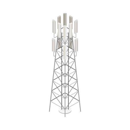Base or Land Station as Wireless Network Communication Technology Isometric Vector Illustration 向量圖像