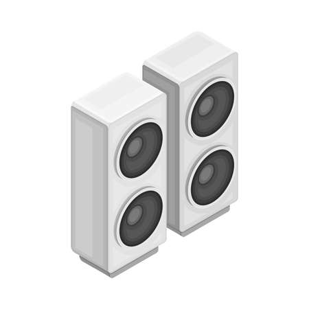 Box-shaped Loudspeaker Cabinet or Enclosure as Wireless Network Communication Technology Isometric Vector Illustration