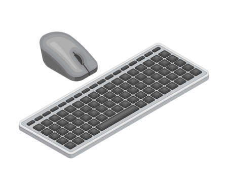 Computer Mouse and Keyboard as Wireless Network Communication Technology Isometric Vector Illustration