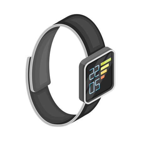 Smartwatch with Touchscreen Interface as Wireless Network Communication Technology Isometric Vector Illustration