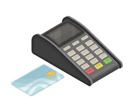 Point of Sale or Payment Terminal and Plastic Card as Wireless Network Communication Technology Isometric Vector Illustration 向量圖像