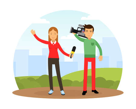 Female Journalist Conducting Interview on Television Broadcast Reporting News and Information Vector Illustration