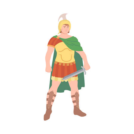 Ancient Roman Soldier or Greek Warrior Wearing Helmet Standing with Sword and Iron Armor Vector Illustration