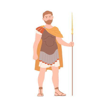 Ancient Roman Soldier or Greek Warrior Standing with Spear Vector Illustration