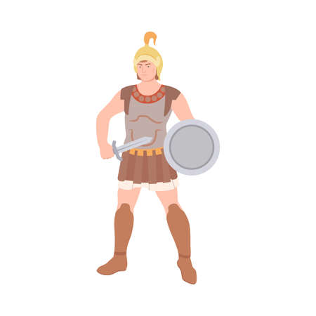 Ancient Roman Soldier or Greek Warrior Wearing Helmet Standing with Sword and Shield Vector Illustration