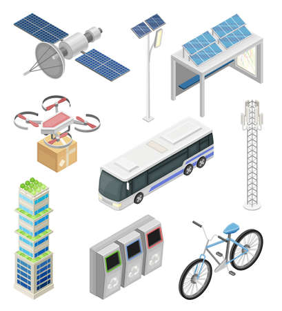 Smart City with Solar Panel, Recycling Bin and Drone Delivering Parcel Isometric Vector Set Vetores