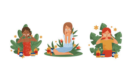 Female Using and Testing Natural Organic Cosmetic Products with Green Foliage Behind Vector Illustration Set