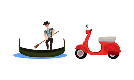 Italy Country Symbols with Gondolier with Paddle on Boat and Scooter Vector Set Vektorgrafik