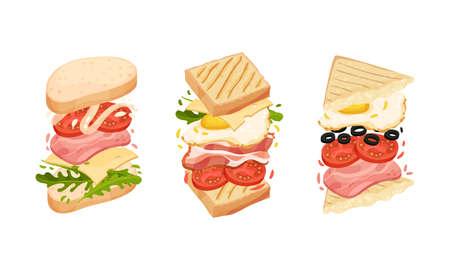 Sandwich with Ingredient Layers Between Bread Slices Vector Set Vetores