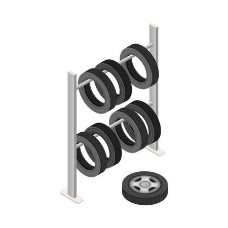 Car Tire or Tyre as Ring-shaped Component of Wheel Rim Hanging on Rack Isometric Vector Illustration Vettoriali