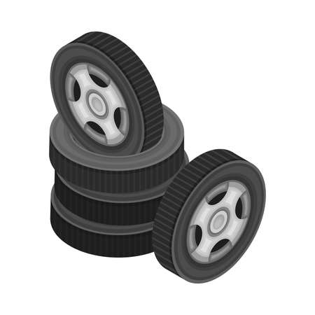 Car Tire or Tyre as Ring-shaped Component of Wheel Rim Piled Isometric Vector Illustration