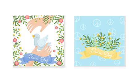 International World Peace Day Greeting Card Design Vector Set